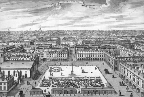 The old St Paul's Church dominated Covent Garden, as seen here in 1720. Image property of Westminster City Archives