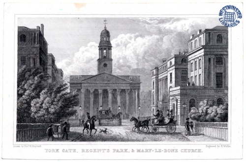 York Gate, Regent's Park and Mary-Le-Bone Church. Image property of Westminster City Archives.