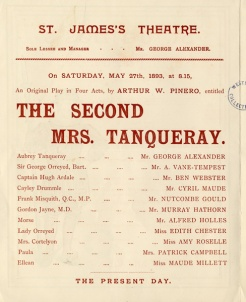 """The Second Mrs Tanqueray"" by Arthur Wing Pinero. Image property of Westminster City Archives"