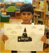 Enzo, 7, has drawn Place des Fetes and its sculpture