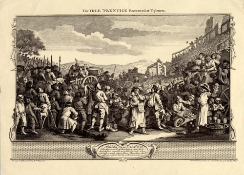 William Hogarth's print of the Idle Prentice's execution at Tyburn. Image property of Westminster City Archives