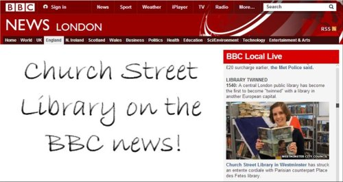 Screenshot of Church Street Library twinning story on BBC Local News
