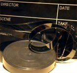 Clapper board / reels of film