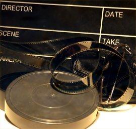 Clapper board / reels of film