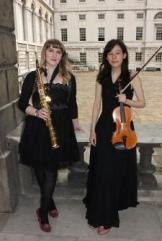 Stephanie Legg (saxophone) and Julia Hart (violin)