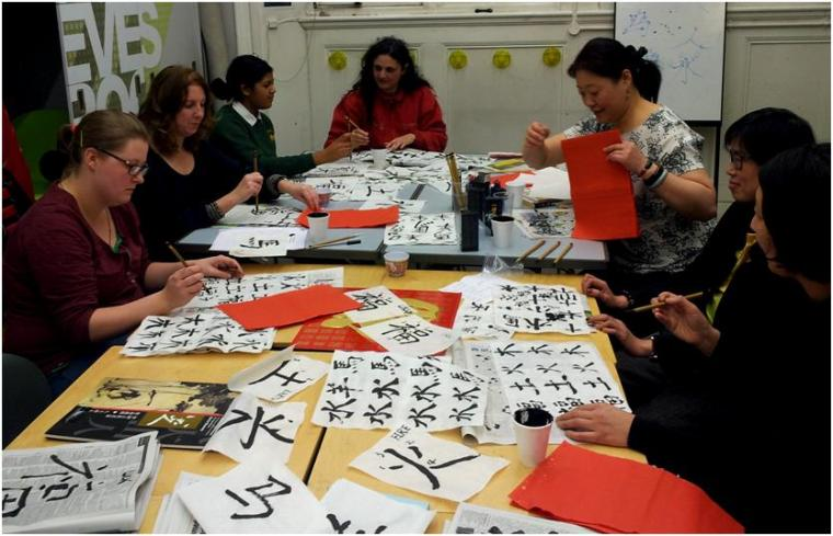 The art of calligraphy - workshop at Victoria Library, February 2014