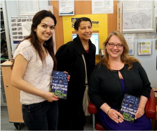 Shabnab and Avery meeting Emily Winslow at Paddington Library, World Book Night 2014