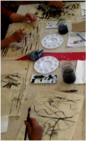 Chinese brush painting at St John's Wood Library, June 2014
