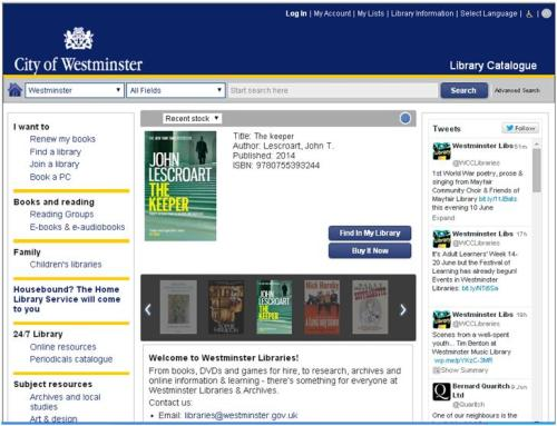 Westminster library catalogue, June 2014