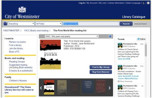 First World War reading lists on the Westminster Libraries catalogue