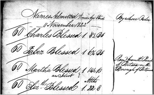 The Blessed family admission record at St Martin in the Fields Workhouse, 1822