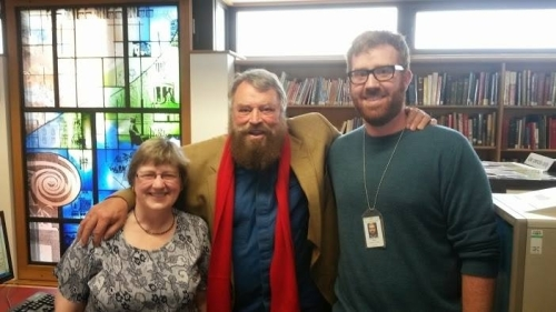 Brian Blessed at Westminster City Archives for Who Do You Think You Are? August 2014. L-R: Alison Kenney, Brian Blessed, Stephen Miller
