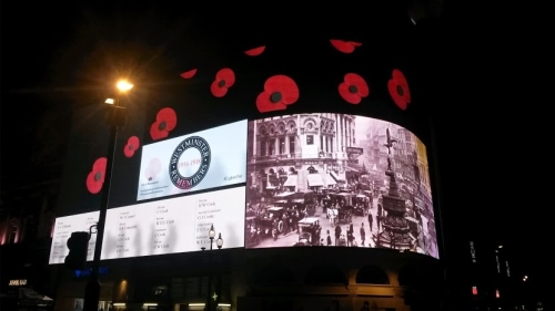 Lights Out: Westminster Roll of Honour at Piccadilly Circus.