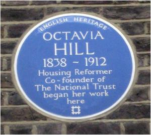 Octavia Hill's blue plaque in Garbutt Place