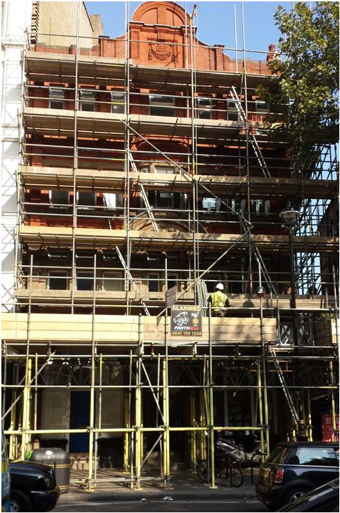 Charing Cross Library under scaffolding, September 2014