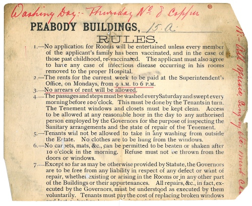 Acc 2552 - Copy of the printed rules and regulations of the Peabody Buildings, Old Pye Street, [1914] Image property of Westminster City Archives
