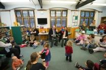 Peruvian Ambassador to the UK and UK Ambassador to Peru reading Paddington Bear stories to under 5s. Paddington Bear visits Paddington Library, November 2014. Photos courtesy of Gavin Conlon Photography Ltd.