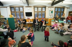 Peruvian Ambassador to the UK and UK Ambassador to Peru reading Paddington Bear stories to under 5s. Paddington Bear visits Paddington Library, November 2014. Photos courtesy of Gavin Conlon Photography Ltd.