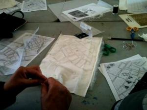 'Tea & Textiles' at Church Street Library - first map drawing workshop 2014