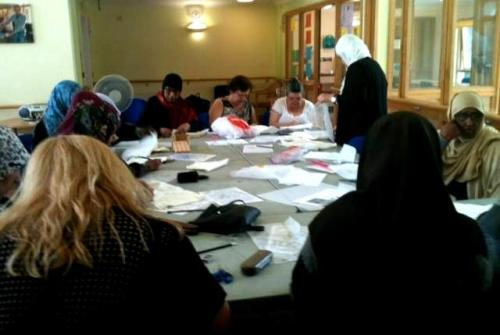 'Tea & Textiles' at Church Street Library - quilt workshop in progress, 2014