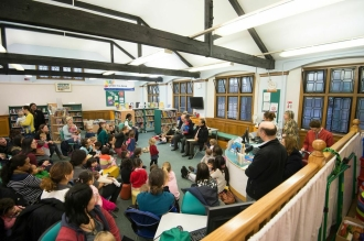 Ambassador to Peru reading Paddington Bear stories to under 5s. Paddington Bear visits Paddington Library, November 2014. Photos courtesy of Gavin Conlon Photography Ltd.