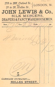 Receipted bill for purchases from John Lewis and Company, silk mercers, drapers and fancy warehousemen, 278-288 Oxford Street and 21-28 Holles Street, 27 Oct 1904