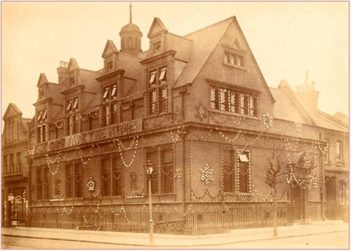Queen's Park Library decorated for the coronation of Edward VII in 1902