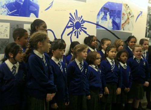 St Edwards School performing in front of the new Church Street Library Living Wall, January 2015, by Valentina Wong