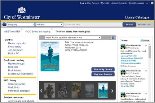 First world War reading list - screen shot