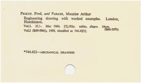 City of Westminster catalogue card