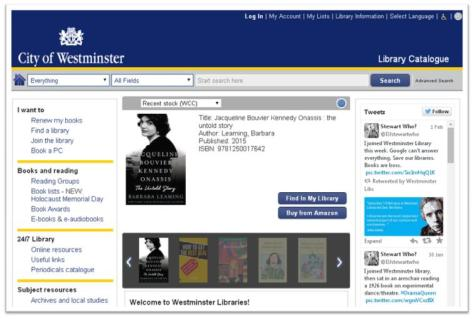Westminster Libraries catalogue, February 2015