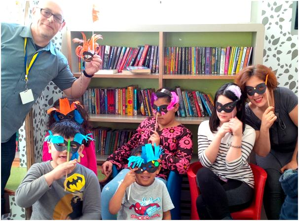 Mardi Gras Masks at Queen's Park Library, February 2015