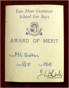 Presentation bookplate - East Ham Grammar School For Boys