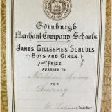 Presentation bookplate - James Gillespie's Schools, Edinburgh