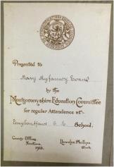 Presentation bookplate - Penybontfawr C E School, Monytgomeryshire