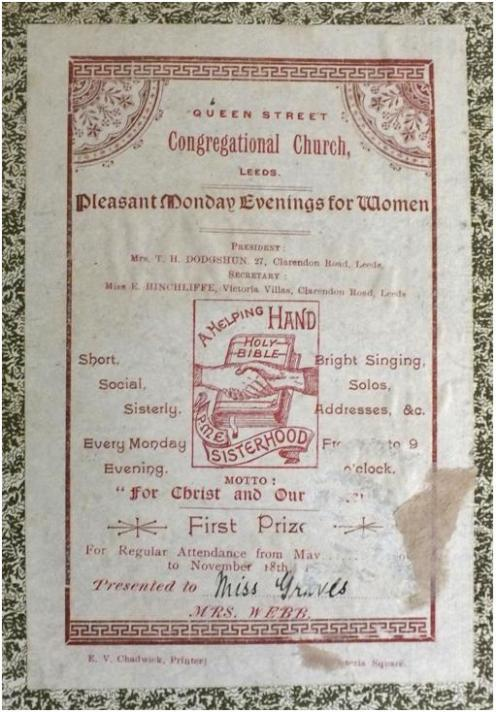 Presentation bookplate - Queen Street Congregational Church, Leeds