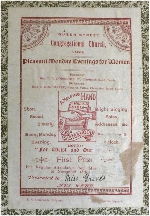 Presentation bookplate - Queen Street Congregational Church, Leeds