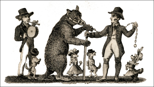 Itinerant dancing bear and dogs, 1828. Image property of Westminster City Archives.