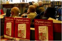 An attentive Cityread audience for Robert Squires talking about the Lost Rivers of London at Paddington Library, April 2015