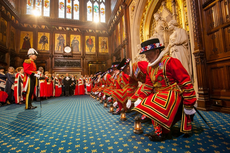 Preparing for State Opening: checking the cellars  The Yeomen of the Guard pick up their lamps in preparation for checking the cellars of the Palace of Westminster, a tradition carried out before every State Opening of Parliament since the failed 1605 Gunpowder Plot.