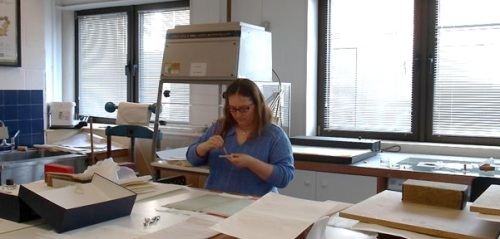 Alison making paper repairs at Westminster City Archives