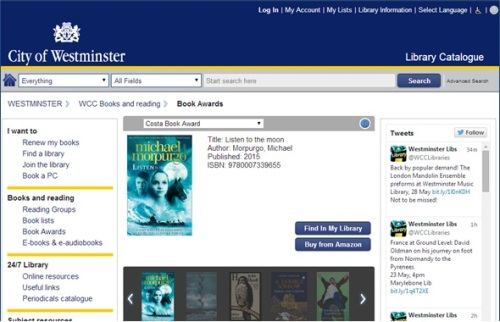 Book Awards page on WCC library catalogue