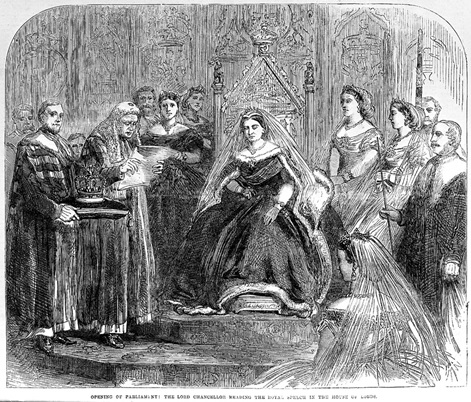 Queen Victoria at the opening of Parliament, 1866
