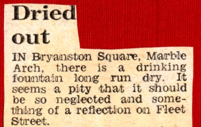 Bryanston Square 1974, newspaper cutting from Evening Standard