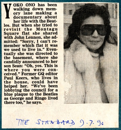 Montagu Square 1990, newspaper cutting from Evening Standard