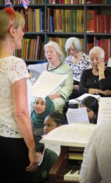 Ruth leading the singing at the BBC Music Day WWII singalong at Westminster Music Library, June 2015