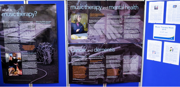 Music therapy display at Westminster Music Library, June 2015