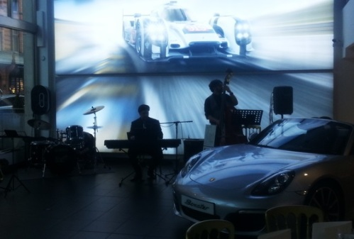 The Daniel Benisty Band performing at the Porsche Centre - Mayfair Library Treasure Hunt 2015