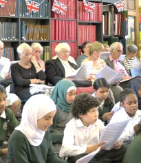 All ages singing together at the BBC Music Day WWII singalong at Westminster Music Library, June 2015