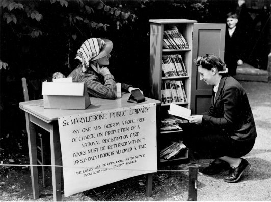 Marylebone Library in Regent's Park, 1942. Image property of Westminster City Archives